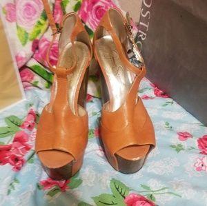 Jessica Simpson brown leather heels